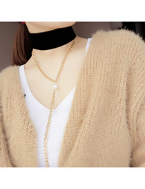 Fashion Black Long Tassel&pearl Pendant Decorated Double Layer Simple Necklace
