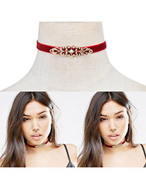Fashion Red Hollow Out Flower Decorated Pure Color Simple Choker