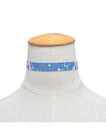 Fashion Blue Dot Pattern Decorated Color Matching Thin Choker