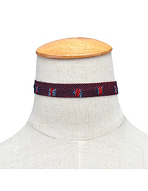 Fashion Red Hole Decorated Color Matching Design Patchwork Width Choker