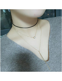 Fashion Gold Color Vertical Shape Pendant Decorated Multi-layer Simple Necklace