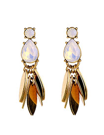 Bohemia Gold Color Metal Oval Shape Decorated Simpe Earrings