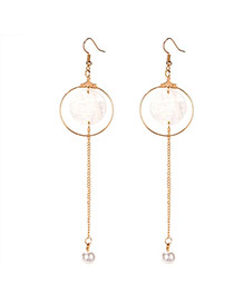 Fashion Gold Color Round Pendant Decorated Simple Tassel Earring