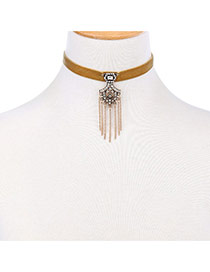 Retro Gold Color Tassel Pendant Decorated Simple Chocker