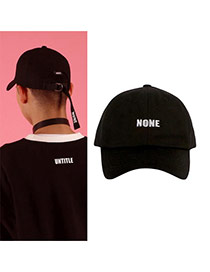 Fashion Black Letter&short Strap Decorated Pure Color Baseball Cap