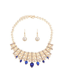 Luxury Sapphire Blue Pear&waterdrop Diamond Pendant Decorated Simple Jewelry Sets