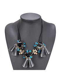 Fashion Multi-color Tassle Pendant Square Shape Short Chain Necklace
