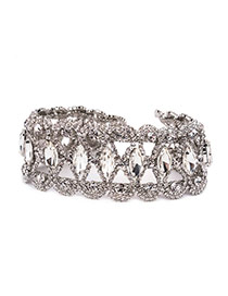 Fashion Silver Color Oval Shape Diamond Decorated Hollow Out Choker