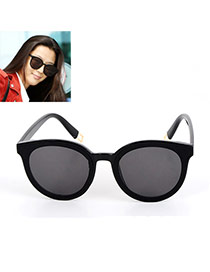 Fashion Black Pure Color Decorated Simple Sunglasses