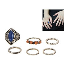Retro Silver Color Geomstone&flower Pattern Decoratead 6pcs Ring Sets