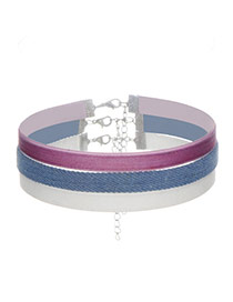 Sweet Light Blue Color Matching Decorated Simple Multilayer Chocker