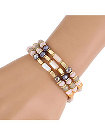 Fashion Coffee Irregular Shapes Gemstone Decorated Simple Bracelet