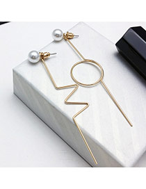 Elegant Gold Color Pearls Decorated Hollow Out Asymmetric Design Simple Earrings