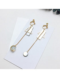 Elegant Gold Color Shell Pendant Decorated Square Shape Simple Earrings