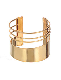 Fashion Gold Color Hollow Out Decorated Simple Opening Bracelt