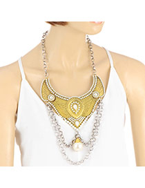 Retro Gold Color Pearl&double Layer Pendant Decorated Short Chain Necklace