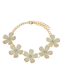 Sweet Gold Color Five Flowers Shape Decorated Simple Bracelet