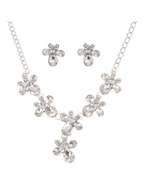 Sweet Silver Color Diamond Flower Shape Decorated Simple Jewelry Sets
