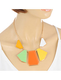 Elegant Multi-color Geometric Gemstone Pendant Decorated Short Chain Necklace