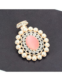 Eleagnt White Round Gemstone Decorated Hollow Out Brooch