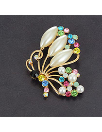 Eleagnt Multi-color Oval Pearl&round Diamond Decorated Butterfly Brooch