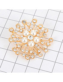 Luxury Gold Color Round Diamond&pearl Decorated Hollow Out Brooch