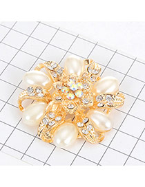 Luxury Gold Color Waterdrop Pearl Decorated Hollow Out Rose Flower Brooce