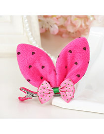 Lovely Plum Red Dot Decorated Rabbit Ears Shape Color Matching Simple Hair Clip