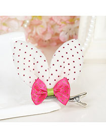 Lovely Orange Dot Decorated Rabbit Ears Shape Color Matching Simple Hair Clip