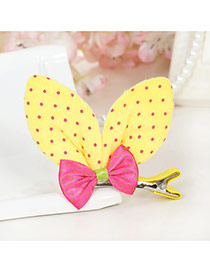Lovely Yellow Dot Decorated Rabbit Ears Shape Color Matching Simple Hair Clip