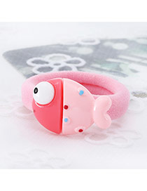 Fashion Pink Fish Shape Decorated Color Matching Design Hair Rope