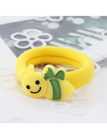 Fashion Yellow Bee Shape Decorated Color Matching Design Hair Rope