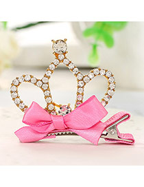 Fashion Gold Color Crown Decorated Bowknot Design Simple Hair Clip
