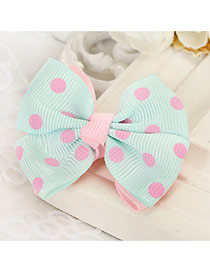 Fashion Light Blue Grid Pattern Decorated Bowknot Design Simple Hair Clip