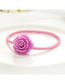 Fashion Purple Flower Decorated Color Matching Simple Hair Clip