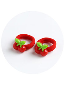 Sweet Red Cherry Shape Decorated Pure Color Hair Band(2pcs)