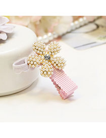 Sweet Pink Pearl Flower Shape Decorated Simple Hair Clip