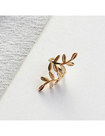 Temperament Gold Color Leaf Shape Decorated Opening Design Ear Clip