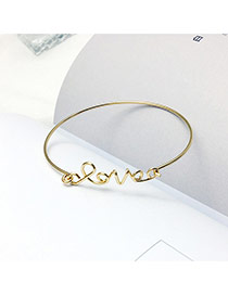Fashion Gold Color Letter Decorated Simple Pure Color Opening Bracelet