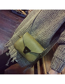 Vintage Green Metal Button Decorated Simple Square Shape Bag