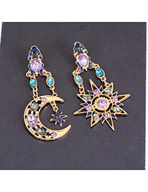 Fashion Multi-color Oval Shape Diamond Decorated Hollow Out Moon Design Earrings