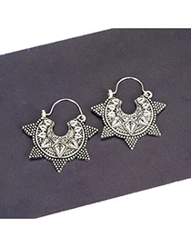 Fashion Silver Color Star Shape Decorated Pure Color Simple Earrings