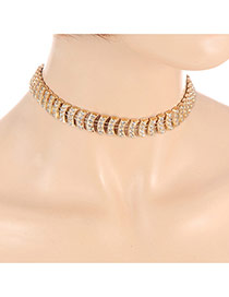 Fashion Gold Color Diamond Decorated Arc Shape Design Simple Choker