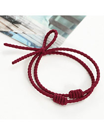 Sweet Red Pure Color Decorated Double Layer Bowknot Design Hair Band