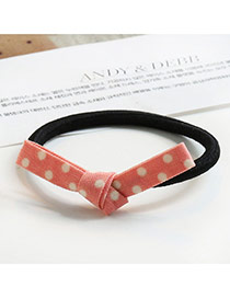 Sweet Pink Color Matching Decorated Bowknot Shape Hair Band