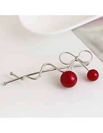 Trendy Plum Red Cherry Pendant Decorated Hollow Out Design Hair Pin