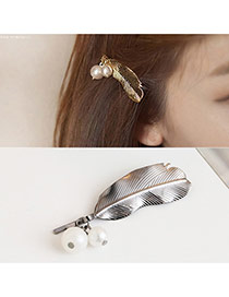 Trendy Silver Color Pearls Pendant Decorated Feather Shape Hair Pin