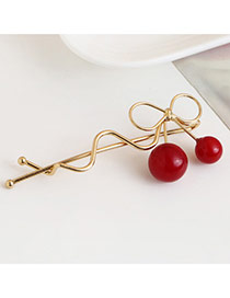Trendy Pink Cherry Pendant Decorated Hollow Out Design Hair Pin