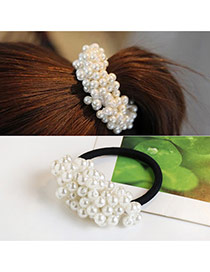 Trendy White Pearls Decorated Superposition Design Hair Band
