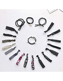 Trendy Black Pearls Decorated Color Matching Design Simple Hair Band (20pcs)